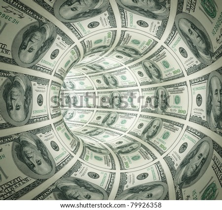 Abstract tunnel made of money. 3d rendered. Isolated on white background.