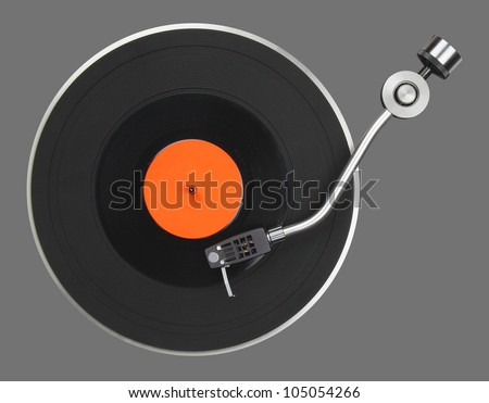 Abstract turntable part isolated on grey