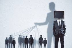 Abstract TV manipulation and brainwash background with people and shadows