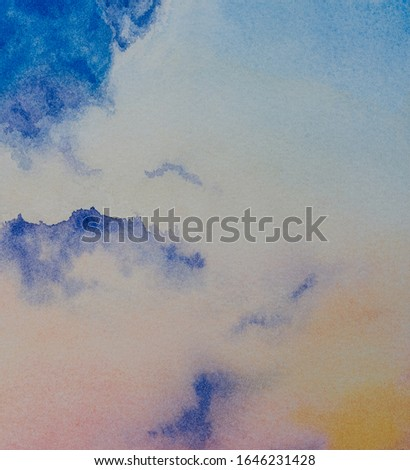 Abstract twilight sky watercolor painting  background. Skyline and colorful clouds. Hand drawn on paper with texture illustration
