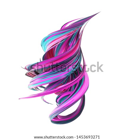abstract twisted brush stroke, paint splash, splatter, colorful curl, artistic spiral, vivid hieroglyph, isolated on white. 3d rendering - Illustration