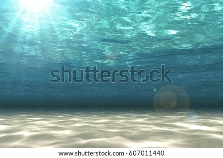 Shutterstock Abstract under sea background, white sand with sun ray for your design. Digital generating image.3D illustration.