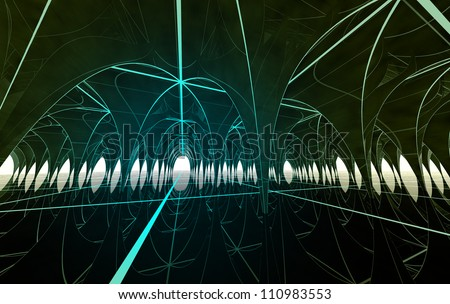 abstract underground architectural high technic dome with computers and lighting stripes and reflections in water render background