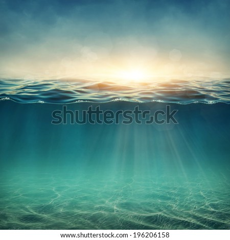 Abstract underwater background with sunbeams #196206158