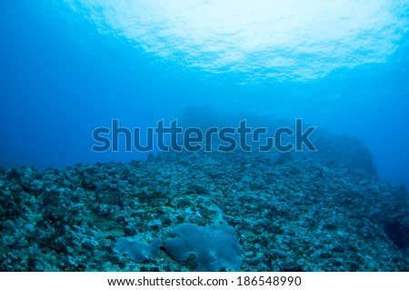 Abstract underwater scene sun rays in deep blue sea, Green Island, Taiwan.