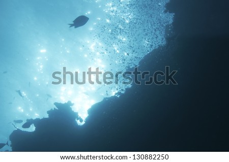 abstract underwater scene sunrays  in deep blue sea