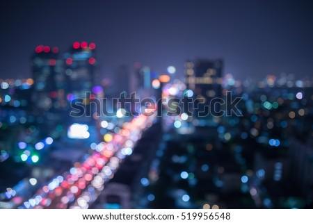 Abstract urban city night light bokeh , defocused background
