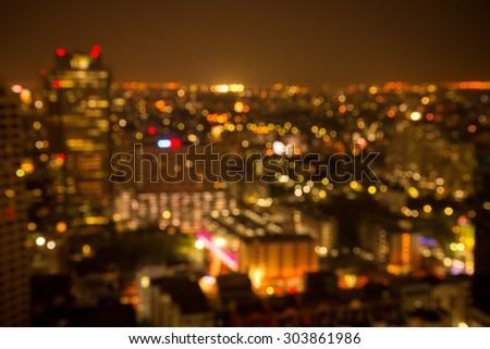 Abstract urban golden luxury night light bokeh , defocused background