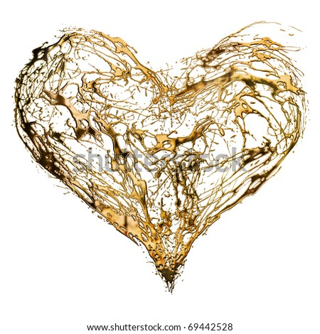 Abstract valentine's golden heart isolated on white background