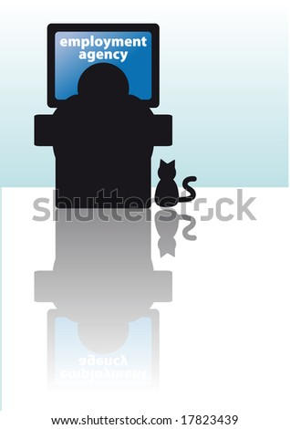 Abstract vector illustration of a man looking for a job on internet