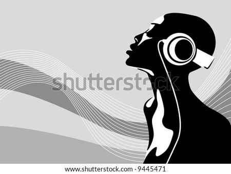 Abstract vector illustration of an african woman listening to music