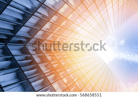 Abstract view of a skyscraper with sunlight #568658551