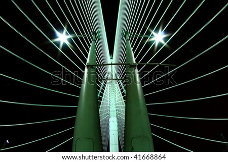 Abstract view of a suspension bridge