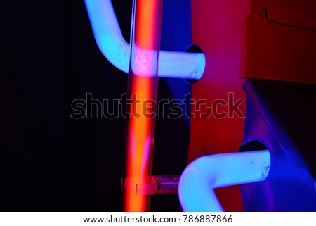 Abstract view of red and blue neon light #786887866