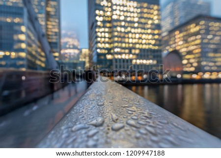 Abstract view to the financial district Canary Wharf in London during winter time at night