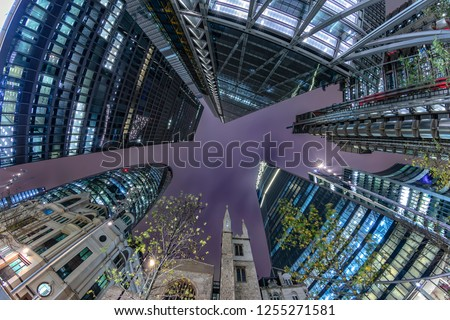 Abstract view to the skyline of the City of London by night, United Kingdom #1255271581