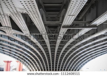 Abstract view under the Blackfriars railway bridge in London, UK
