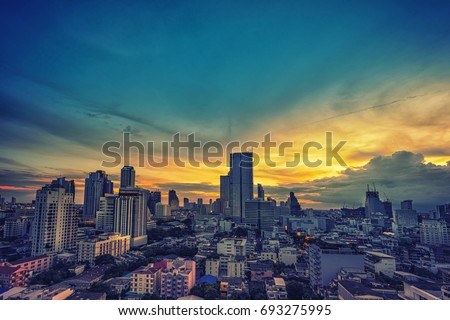 abstract vintage cityscape sunset on oil paint filter - can use to display or montage on product #693275995