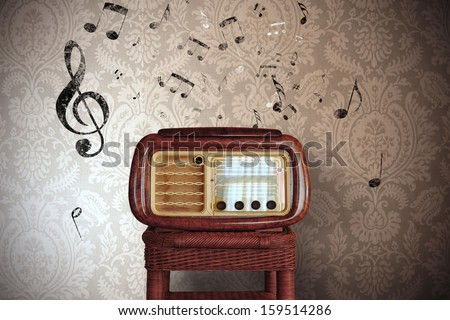 Abstract vintage music notes with old radio