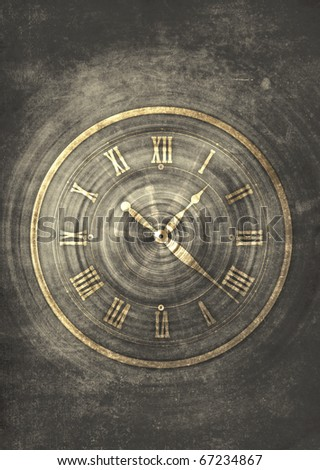 abstract vintage old clock with dark space for time concept
