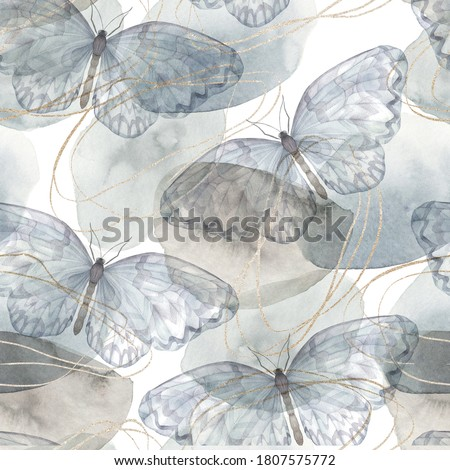 Abstract vintage print with butterflies, shapes and golden lines on white background. Watercolor seamless pattern. Hand drawn marble illustration. Mixed media art