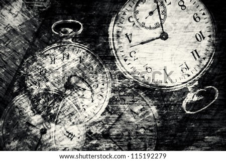 Abstract vintage time conceptual- sepia toned