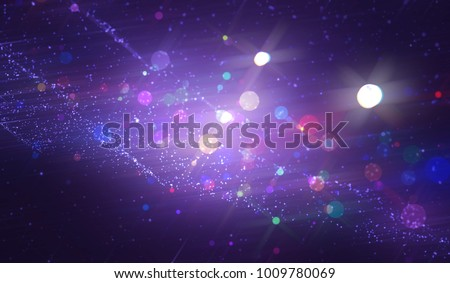 Abstract violet bokeh circles. Beautiful illustration background with particles.
