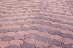 Abstract violet hexagon brick pavement pattern.