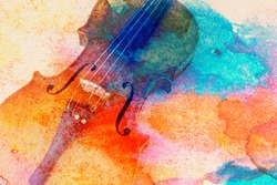 Abstract violin background - violin lying on the table, music concept
