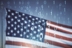 Abstract virtual binary code illustration on US flag and blue sky background. Big data and coding concept. Multiexposure