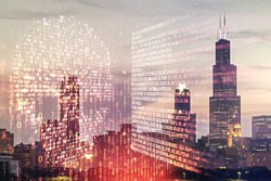 Abstract virtual code skull hologram on Chicago cityscape background, cybercrime and hacking concept. Multiexposure