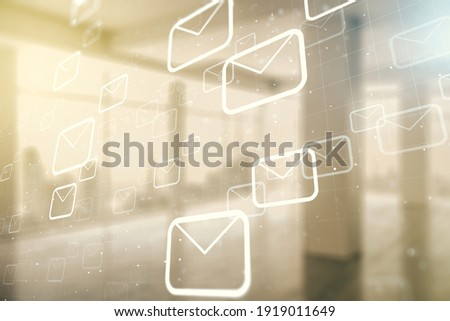Abstract virtual postal envelopes sketch on empty room interior background, e-mail and marketing concept. Double exposure Photo stock ©