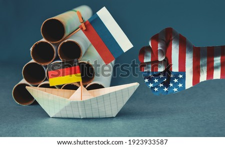 abstract vision Nord Stream 2, flag  USA american, russia, germany EU  sanction concept gas pipes  Photo stock ©