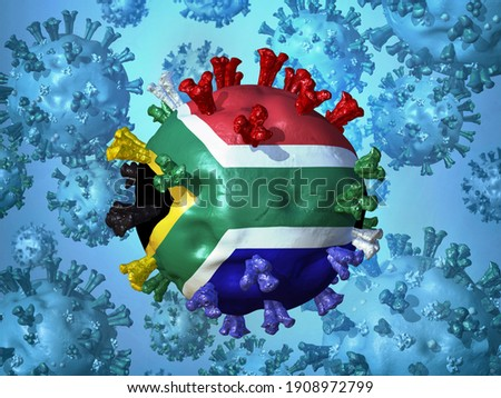 Abstract visual representation of the  highly contagious SARS-CoV-2 variant  from South Africa, which is rapidly spreading worldwide and replacing other versions of the virus. 3D illustration Foto stock ©