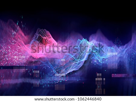 Abstract Visualization of data and technology in graph form. 3D Illustration
