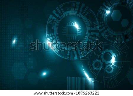 Abstract visualization of IIoT, Industrial Internet of Things or Industry 4.0. Gears and sensors connected for better asset performance and predictive maintenance. ストックフォト ©