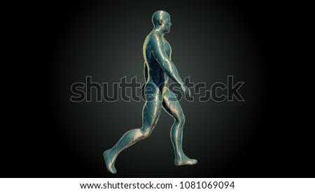 abstract walking man. 3D rendering