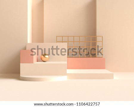 abstract wall cream-yellow orange geometric shape minimal 3d rendering