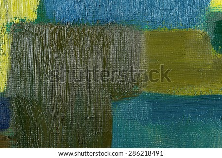 abstract wallpaper, texture, background of an original oil green and blue painting on canvas with brush strokes.