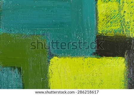 abstract wallpaper, texture, background of an original oil green painting on canvas with brush strokes.