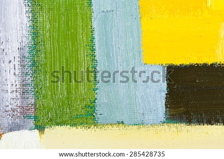 abstract wallpaper, texture, background of an original oil grey, yellow and green painting on canvas with brush strokes.