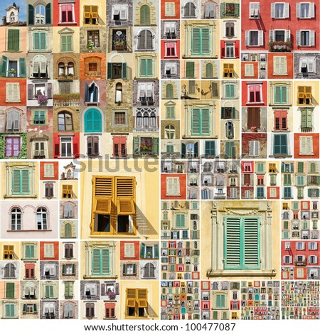 abstract wallpaper with many retro windows from Italy, Europe