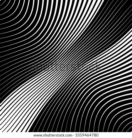 Abstract warped Diagonal Striped Background . Vector curved twisted slanting, waved lines texture #1059464780