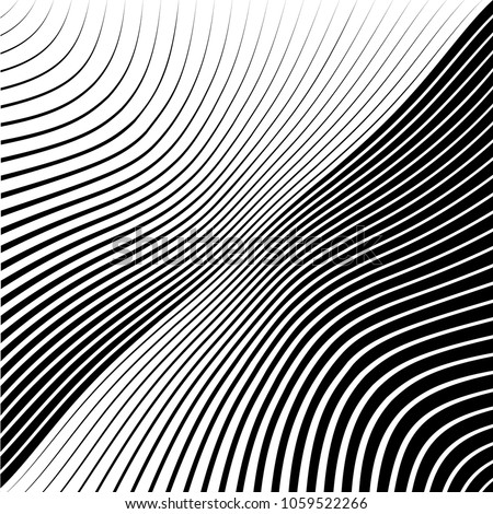 Abstract warped Diagonal Striped Background . Vector curved twisted slanting, waved lines texture  #1059522266