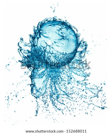 Abstract water ball splash isolated on white background. #152688011