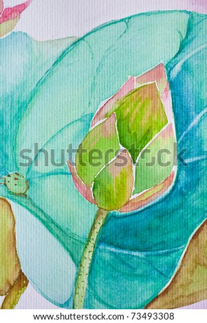 abstract water color - lotus