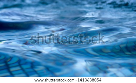 Abstract water image shows unique water movement that can be used for backgrounds or as a picture. This surface ocean image has a unique texture and rich aqua colors. #1413638054