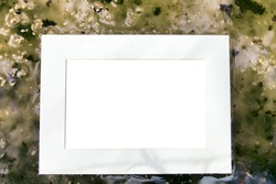 Abstract water-snow-ice element background with a white caption frame