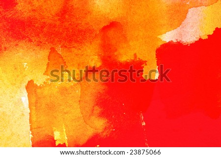Abstract watercolor and tempera painted  background with red orange layers