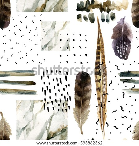 Abstract watercolor background : brush stroke, doodle, marbling, grunge, paper texture. Water color marble painting, bird feather, ink scribble seamless pattern. Hand painted minimalistic illustration